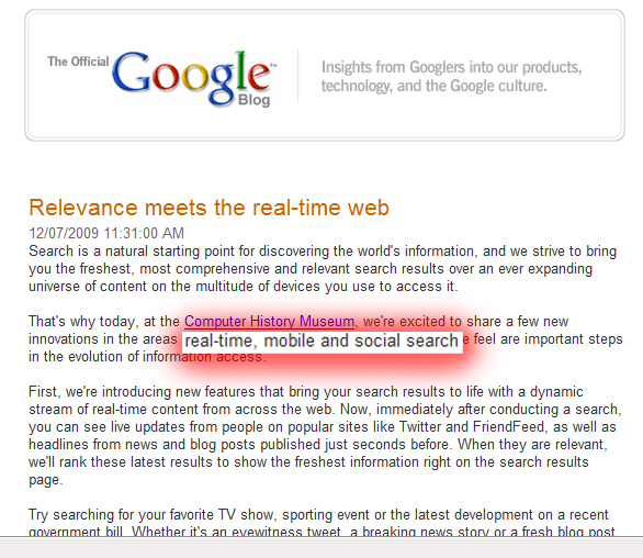 Google Announces Real Time Search of Social Media